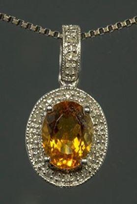 14k White Gold Diamond & Oval Citrine Pendant