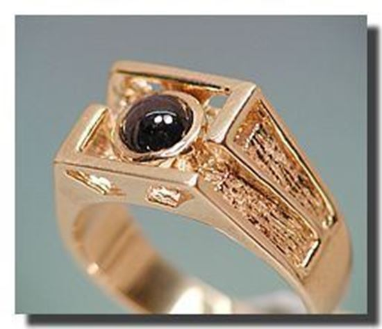 6 Ray Idaho Star Garnet in 14k Gold Gents Ring