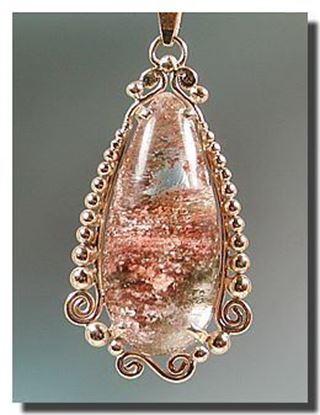 14k Gold Pendant Lodolite Included Quartz, Brazil