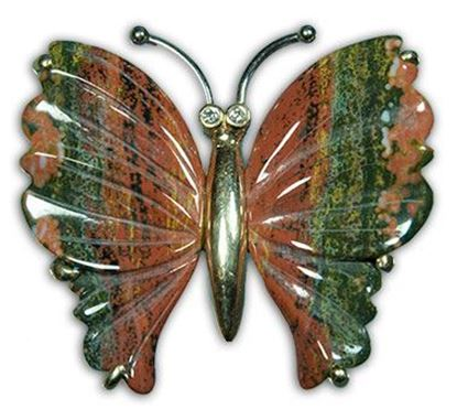 Gold Butterfly Pendant made with carved Ocean Jasper & Diamonds
