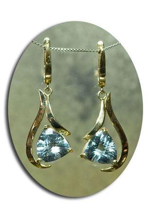 14k 12mm Trillion cut Sky Blue Topaz Earrings