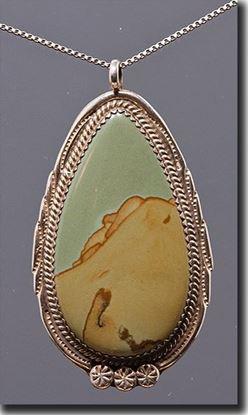 Owyhee Wild Horse Picture Jasper Silver Pendant