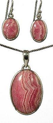 Pink Rhodochrosite Silver Pendant & Earrings