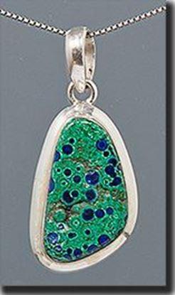 Malachite & Azurite Silver Pendant