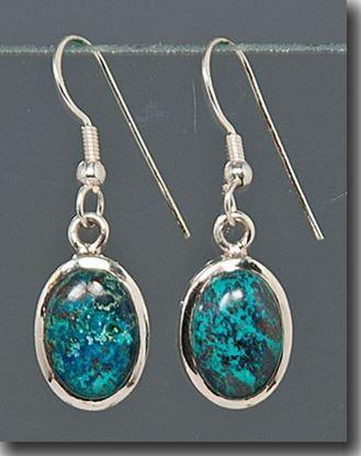 Oval Chrysocolla Silver Earrings