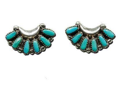 Zuni made Sleeping Beauty Turquoise Petit Point Silver Earrings