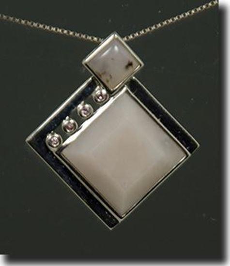 Pink Peruvian opal silver pendant