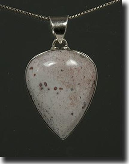 Silver pendant made with the gemstone Pink Cinnabar Common Opal
