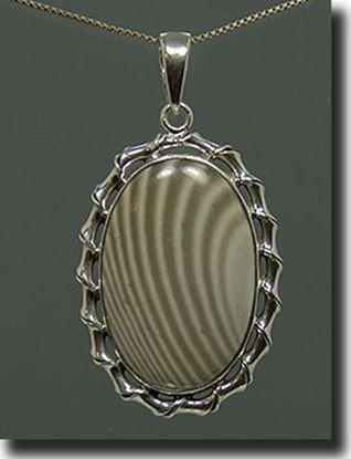 Silver Polish Stripped Flint Pendant
